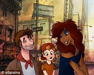 Oliver and Company characters Dodger (in red scarf), Oliver (in orange), and Rita (second from left and far right) were turned into shaggy-haired adults and a little boy in a baseball cap