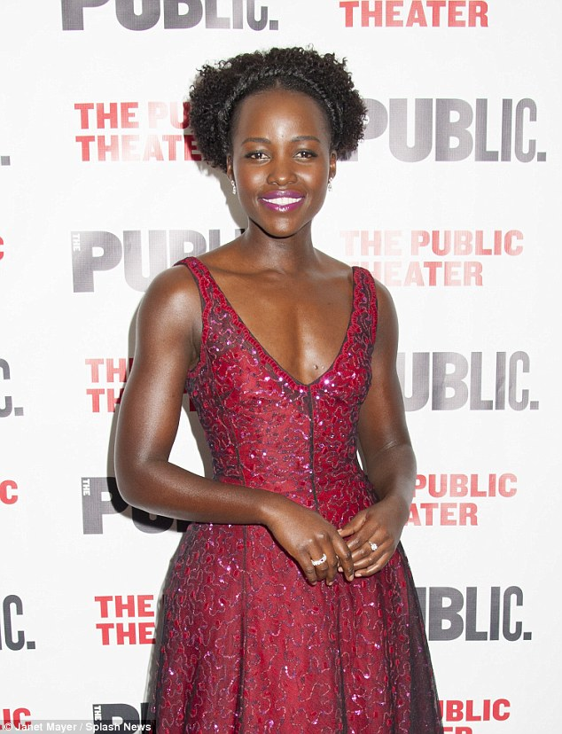 Flawless: Lupita's dress featured a shimmery pink design