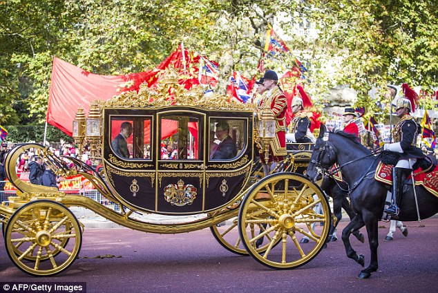 Rolling out the red carpet! The presidential couple enjoyed a ride in the Diamond Jubilee State Coach