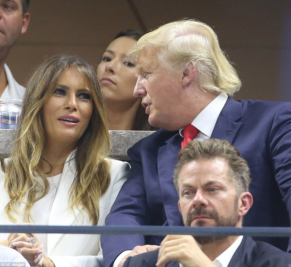 Life of luxury: Melania and Donald Trump attend the Williams sisters match at the US Open inSeptember