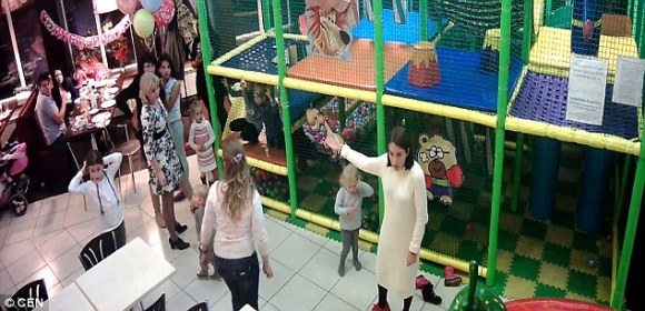 Calm before the storm: The eight-woman catfight was sparked when one mother, reportedly called Anastasia, complained about the behaviour of a child in the soft play area