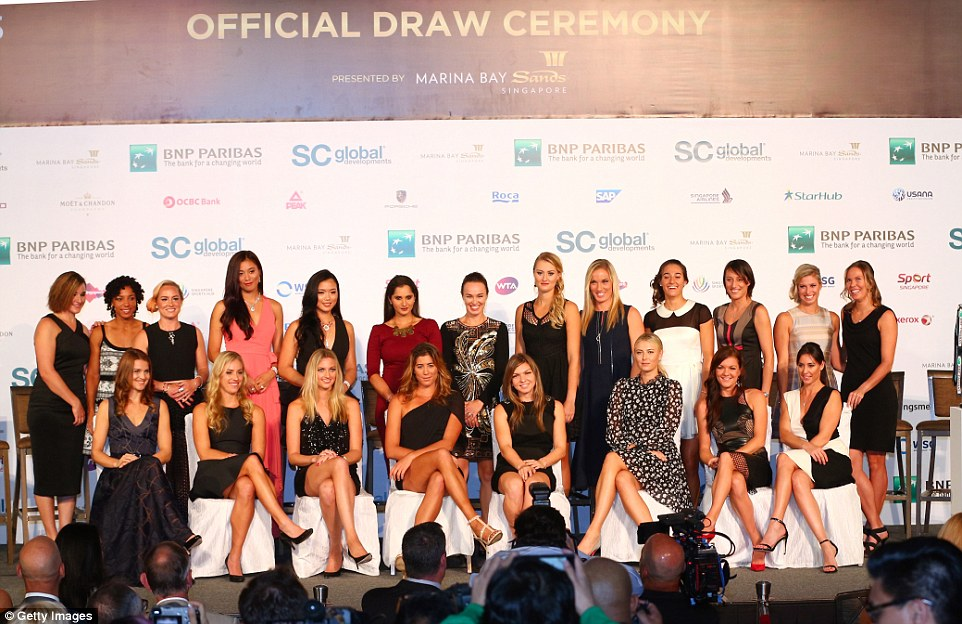 (Front, left to right) Lucie Safarova, Angelique Kerber, Petra Kvitova, Garbine Muguruza, Simona Halep, Maria Sharapova, Agnieszka Radwanska and Flavia Pennetta, (Back, left to right) Abigail Spears, Raquel Kops-Jones, Bethanie Mattek-Sands, Chan Hao-chin, Chan Yung-jan, Sania Kristina Mladenovic, Timea Babos, Caroline Garcia, Katarina Srebotnik, Andrea Hlavackova and Lucie Hradecka