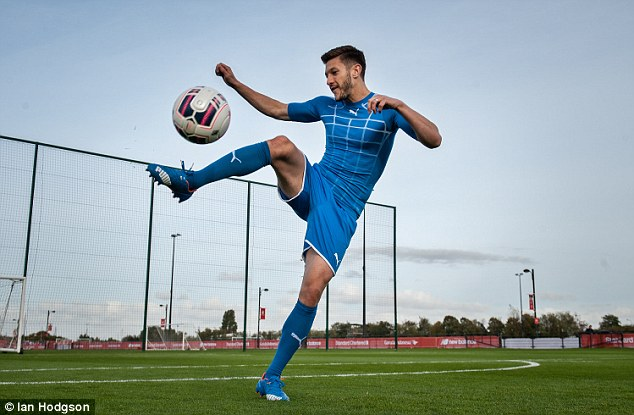 Adam Lallana pictured at Liverpool academy to promotePuma's Forever Faster campaign this week