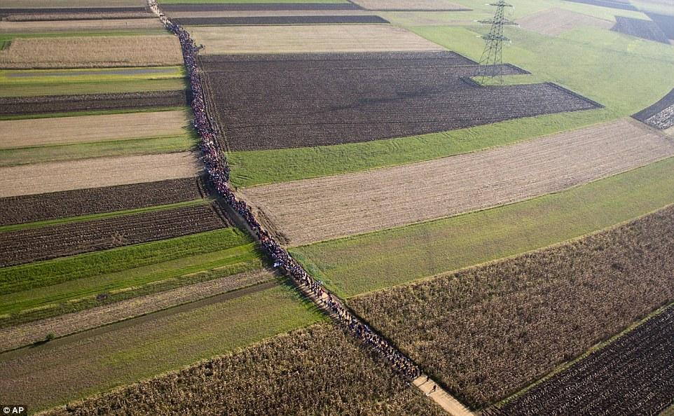 La columna de los migrantes son sólo un puñado de las decenas de miles que han cruzado la frontera hacia el país en la última semana