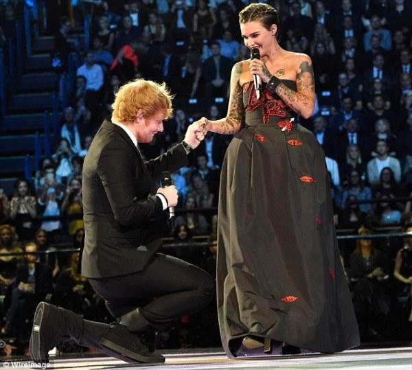 MTV EMA 2015's Ed Sheeran leaves Ruby Rose blushing with X ...