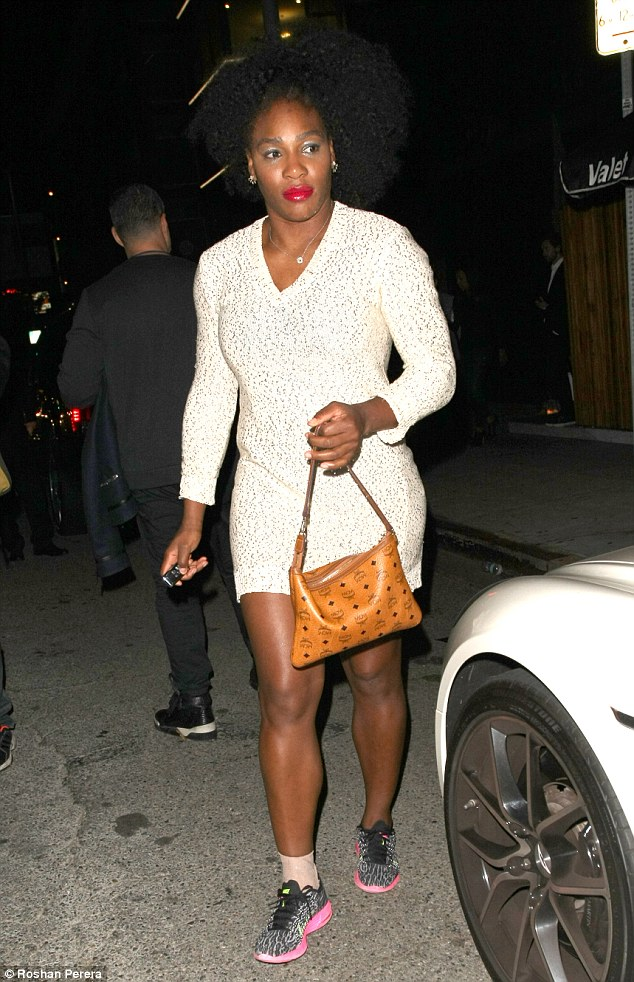 Night out: Tennis champion Serena Williams wore a sparkly white dress while out clubbing at The Nice Guy in West Hollywood on Sunday
