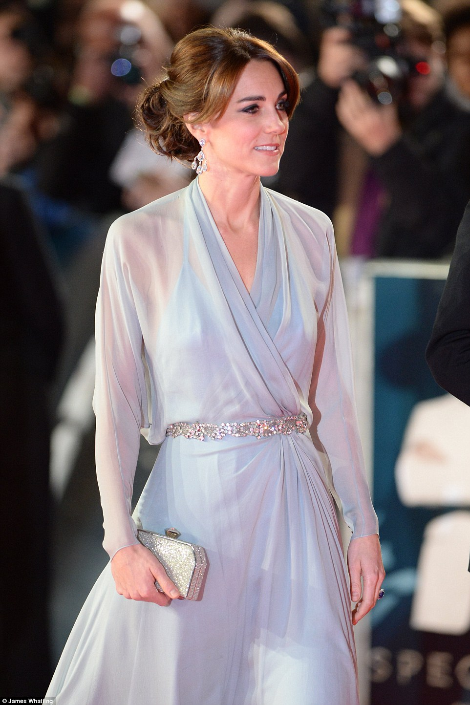 Elegant: Kate dazzled in a diaphanous pale blue full length gown and diamonds with her hair in an elaborate up do