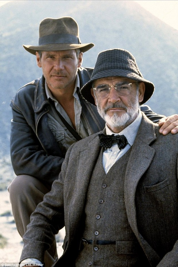 In the third Indy film Indiana Jones And The Last Crusade, released in 1989, former James Bond star Sean Connery played Ford's on-screen father Professor Henry Jones