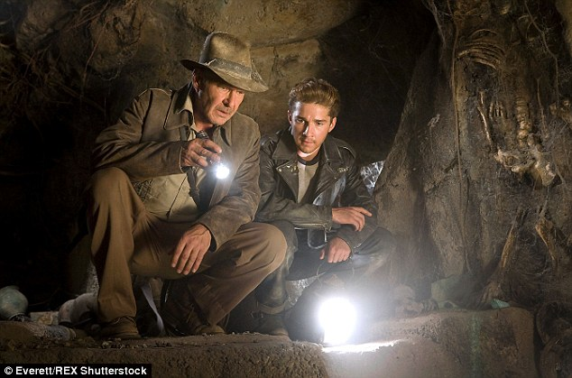 Helping hand: In his fourth outing as the archaeologist and adventurer, Ford had an on-screen son played by Shia LaBeouf who helped him take on the Nazis once again in Indiana Jones And The Kingdom Of The Crystal Skull, released in 2008