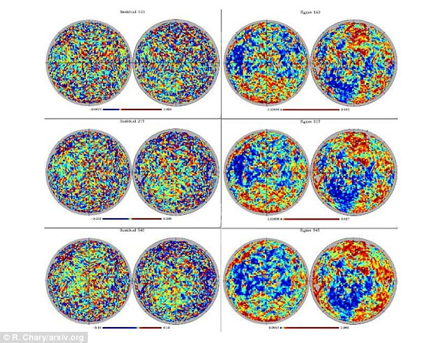 Dr Ranga-Ram Chary examined the noise and residual signals in the cosmic microwave background left over from the Big Bang (pictured) and found a number of scattered bright spots which he believes may be signals of another universe bumping into our own billions of years ago