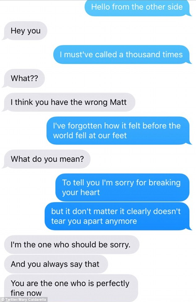 Mary sent lyrics to her ex-boyfriend Matt in an exchange which has been retweeted over 12,000 times