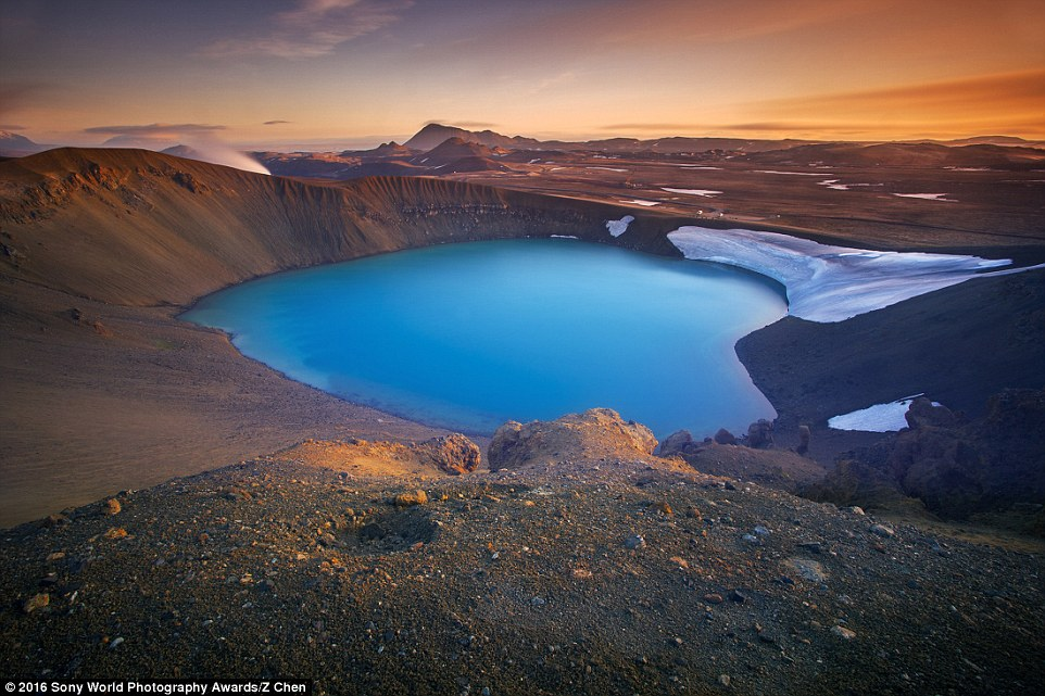 Z Chen from China submitted an incredible still of the sunset around Viti, a bright blue crater in Iceland that is shaped like a love heart