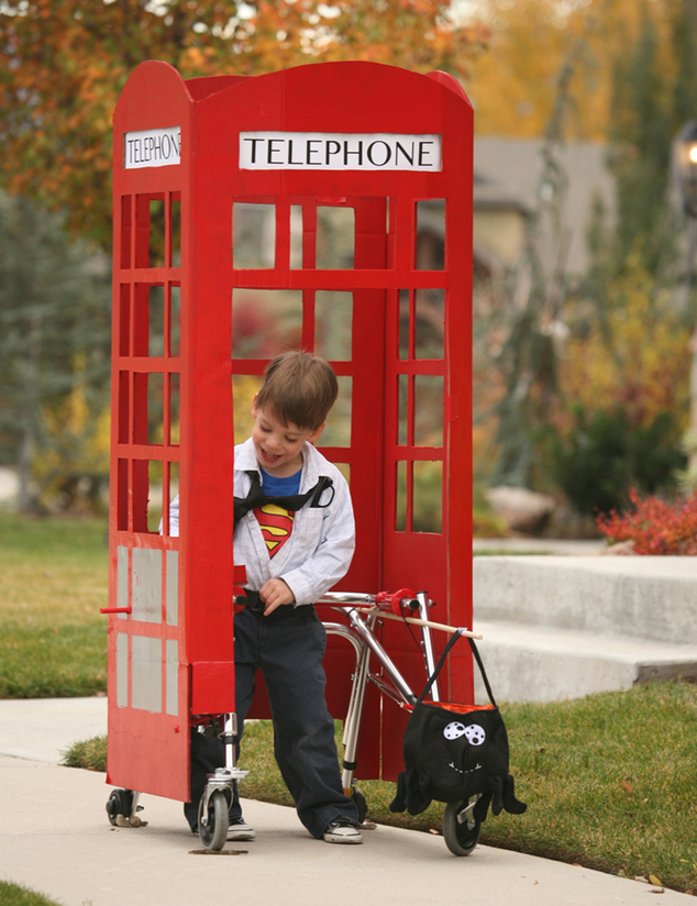 In this October 2013 photo provided Chantelle Bailey, Sebastian Bailey, who has cerebral palsy, stands in his Superman/Clark Kent Halloween costume that his ...