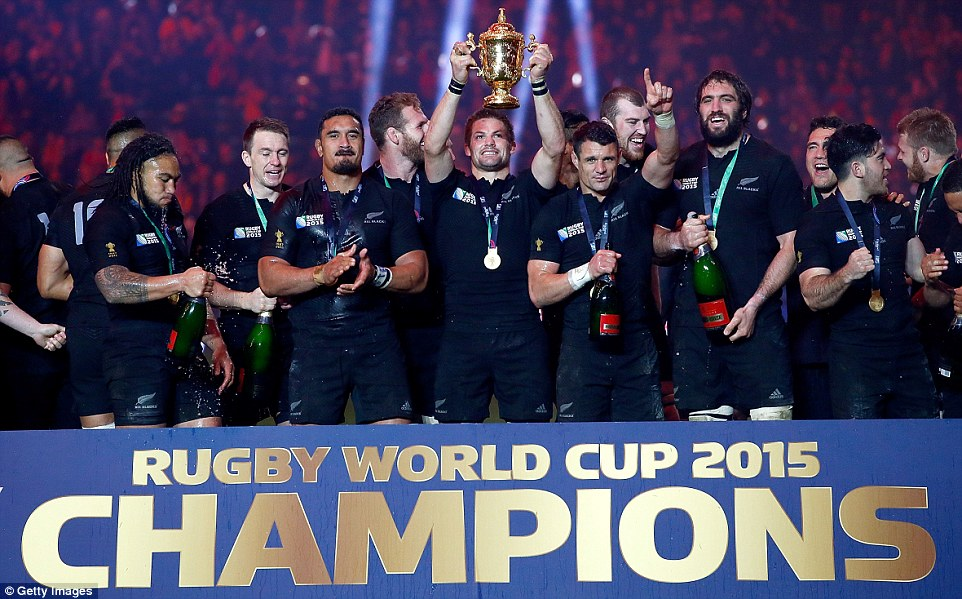 Richie McCaw of New Zealand holds aloft the Webb Ellis Cup after victory in the 2015 Rugby World Cup final