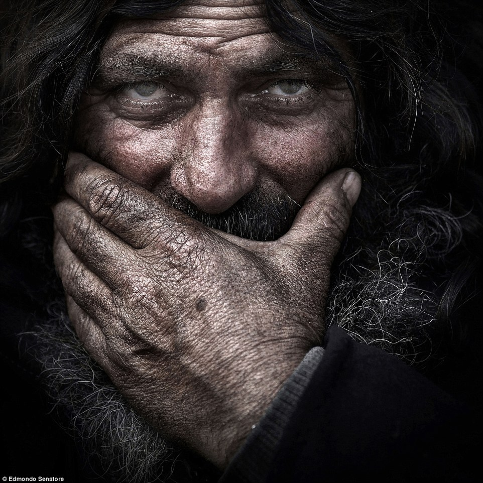 Open colour - Honourable mention: David by Edmondo Senatore. This is one of the many homeless portraits photographed in different Italian cities, interesting experience where Edmondo made about 500 pictures, and that led him to know how these less fortunate people live