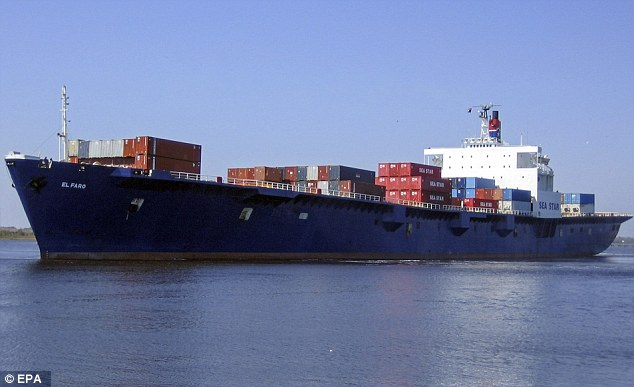 A large ship found in deep water off the Bahamas is the lost freighter El Faro (pictured in a file photo at sea) that sank with 33 crew members in a hurricane last month, U.S. authorities said on Monday