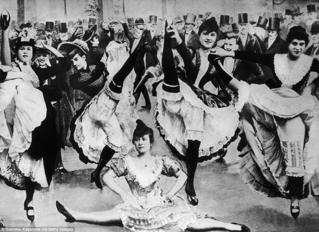 The can-can was traditionally performed by a chorus line of female dancers who wear costumes with long skirts, petticoats, and black stockings