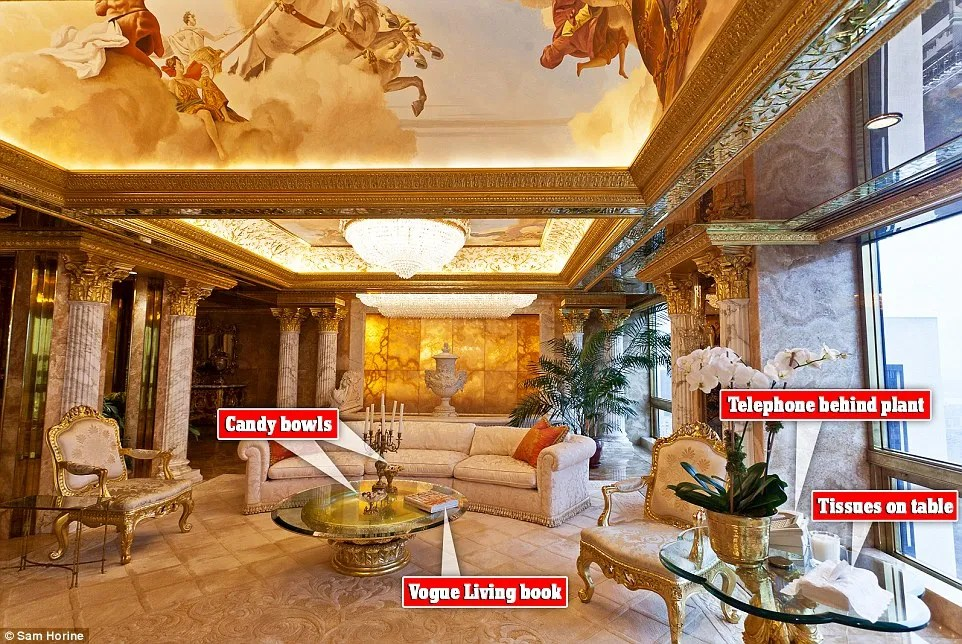 All about the details: A fountain sits in back of the Trump's sitting room behind a semi-circle, ivory couch. A crystal chandelier lights up its beauty as it is planted on the tableau ceiling above. It shows a scene of Greek - or Roman - gods and seems likely to be Apollo again, who is often portrayed crossing the heavens in his chariot