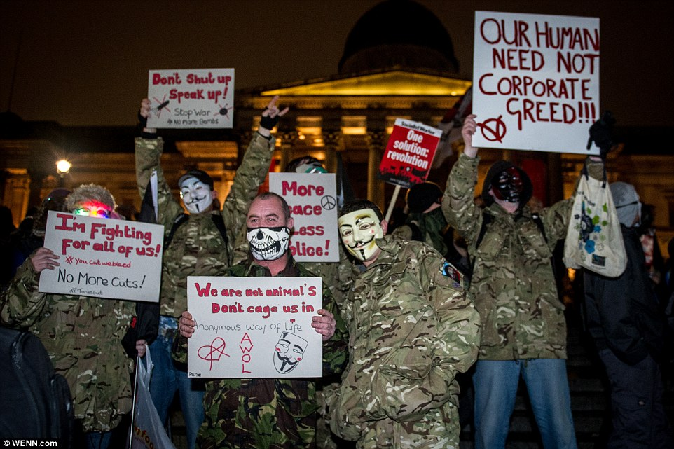 More than 20,000 people have said on Facebook that they would attend the event, which started in Trafalgar Square at 6pm yesterday