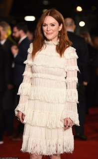 Radiant: The 54-year-old Oscar-winning actress was all smiles as she posed in her  bridal inspired minidress