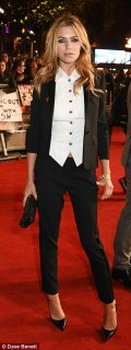 Menswear chic: Abbey Clancy was rocking a masculine tux, making the most of her slender legs in tailored trousers