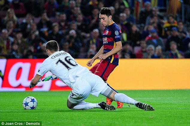 Munir El-Haddadi en action lors de la Ligue des champions de la victoire de Barcelone sur BATE Borisov cette semaine