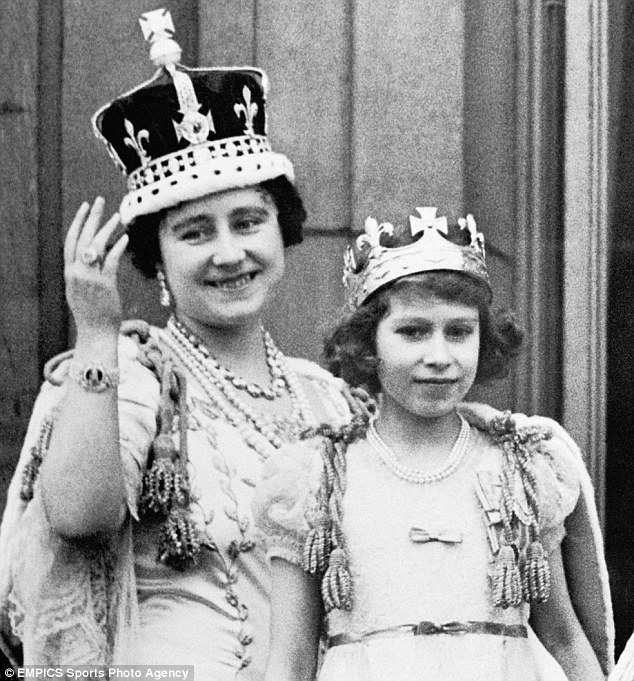Crowning glory: Then Queen Elizabeth, with daughter Elizabeth, wears the diamond at George VI's Coronation