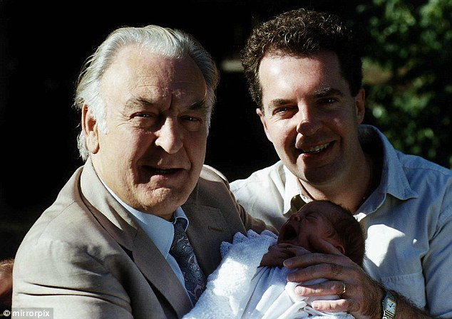 Actor Donald Sinden with his son Marc, and his granddaughter. Marc Sinden, now 61, has only recently come to terms with being raped by his headmaster as an eight year old boy