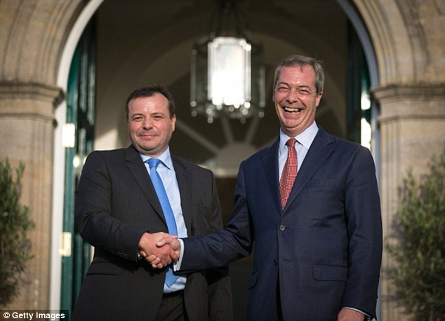 The problems have been compounded by the fact that the party's biggest donor, Arron Banks (pictured left), is now channelling his money instead into his own campaign for the UK to vote to leave the EU