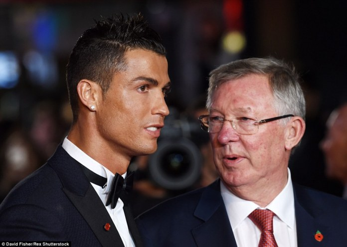 Cristiano Ronaldo meets up with Sir Alex Ferguson at the Leicester Square premiere of his eponymous film 'Ronaldo' on Monday evening
