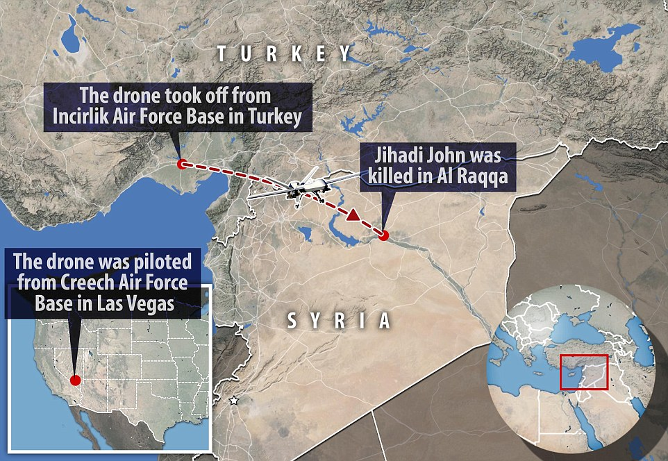 Image result for a strike by an unmanned drone in the city of Raqqa,