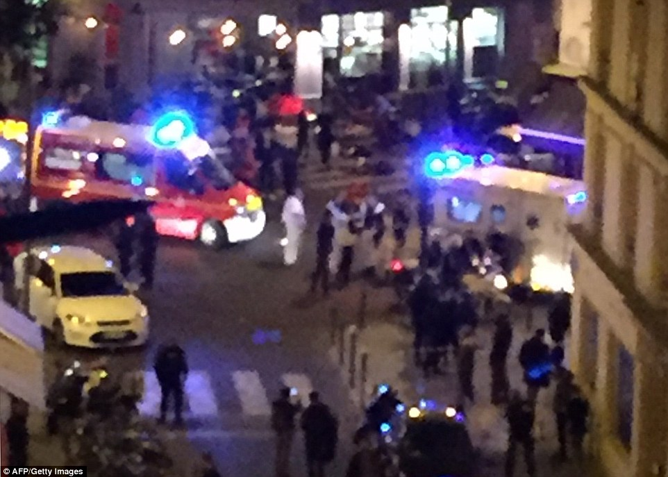 Emergency services were called to the scene after armed terrorists fired at diners in a Paris restaurant