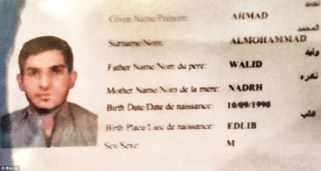 Serbian media says this is   25-year-old Ahmed Almuhamed, whose Syrian passport is pictured, who blew himself up at the Bataclan concert hall and is believed to have sneaked into France with another terrorist by posing as refugees from Syria