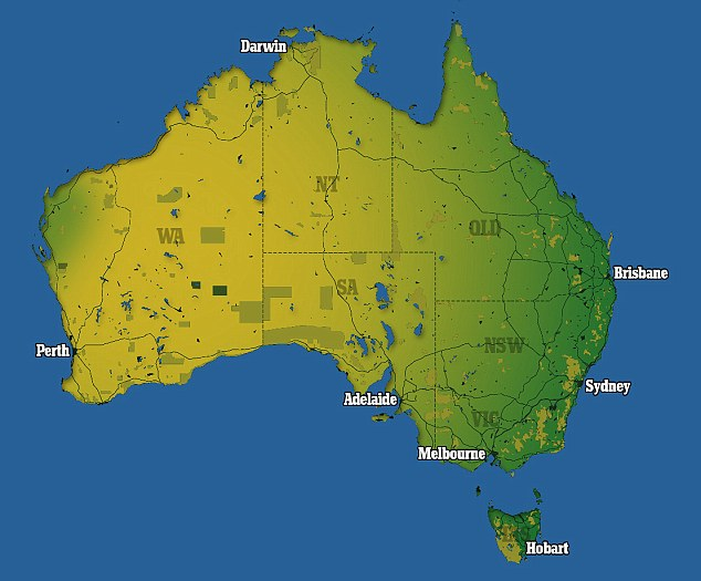 Maps show just how the Australian population jams into tiny urban     The country s 7 7 million square kilometres of land are mainly empty   save  the dots of