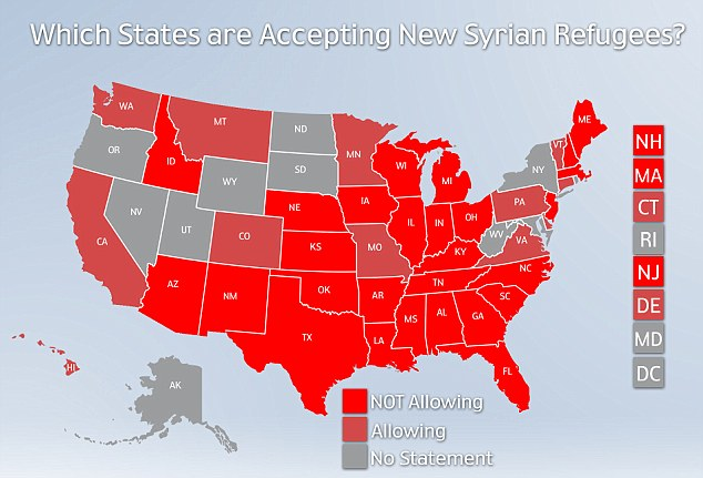Above, states where governors have voiced opposition to Syrian refugees are in dark red, with states voicing support for the resettlement in pink. Gray states have not made a statement, suggested a review of the policy or have said that they do not expect and refugees would be sent to them. Kentucky's outgoing Democratic governor has indicated that he will follow the federal government's lead on the issue, though the governor-elect, a Republican, has said that he would not