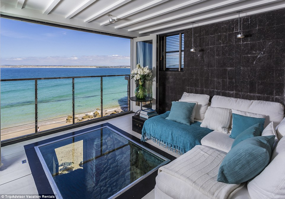 Black Moon, a one-bedroom apartment has a glass floor in the living room that looks down into a private cave/snug area