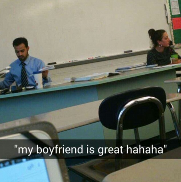 Mr t returns to his desk looking dejected and Sydney labels the photograph with an imagined quote from the female teacher saying, 'my boyfriend is great hahaha'. Sydney also hashtagged the post '#mr t no #she brought up her boyfriend 4 times #to make sure he got it'