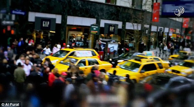 After showing images of a man preparing a bomb, which is in fact old footage recycled from a previous ISIS video, the film cuts to images of yellow taxis and Times Square