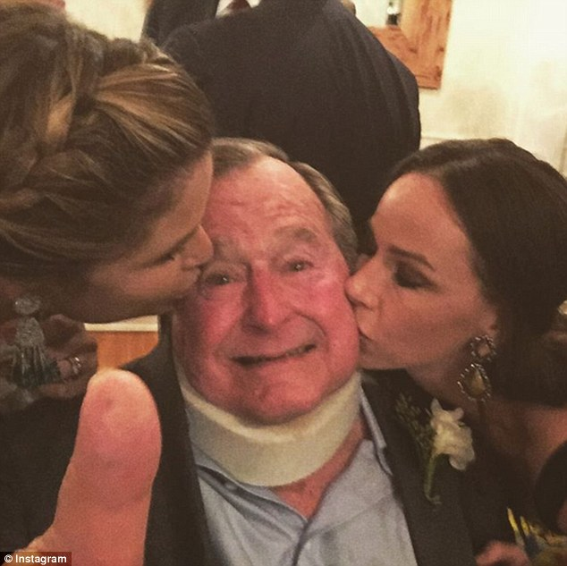 Today show host Jenna Bush Hager, left, shared a photo giving her beloved grandfather a kiss along with her twin sister Barbara Bush, right at the wedding of her cousin Marshall Bush