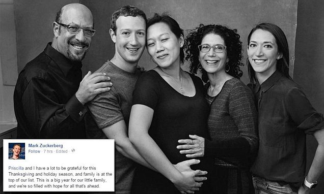 Facebook's Mark Zuckerberg embraces wife Priscilla, parents and sister Arielle in photo