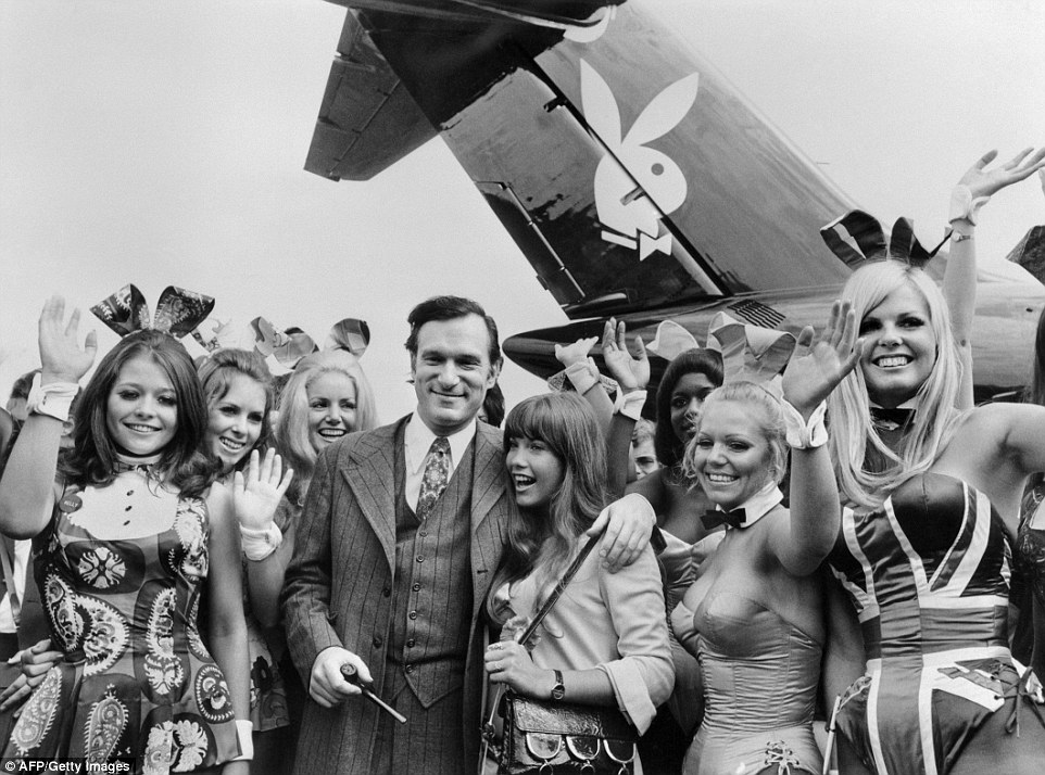 The Playboy magazine publisher can be seen with his then-girlfriend, actress Barbara Benton, and other playmates arriving at Le Bourget airport