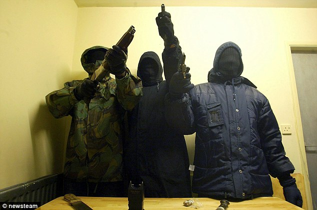 Stephenson was 'at the heart' of the Burger Bar Boys who for years fought a bloody and protracted feud with the rival Johnson Crew. Pictured: Members of the gang holding some of their weapons