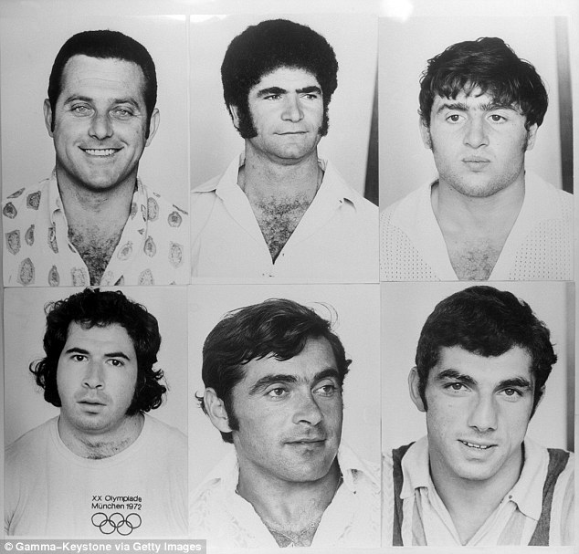 Six of the eleven Israeli hostages killed by the Palestinian 'Black September' cell at the 1972 Munich Olympic Games. Yossef Romano, the torture victim, is top center