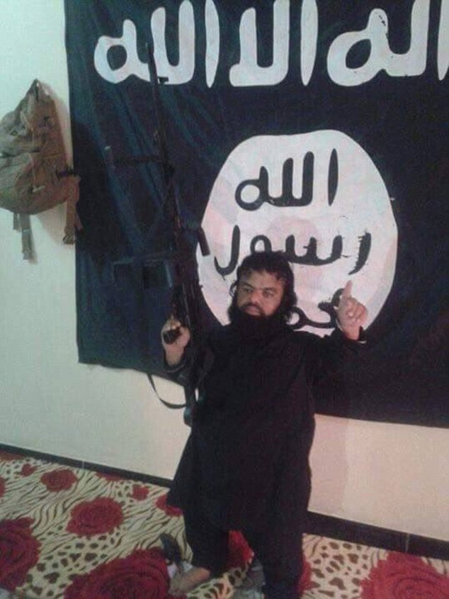 A picture of the dwarf jihadist  posing with an assault rifle has surfaced alongside pictures of Melbourne teenage suicide bomber Jake Bilardi from a militant's mobile phone