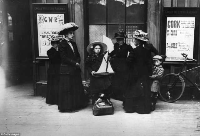 A group of holidaymakers arrive at Paddington Station in London in 1910, for a trip to the seaside