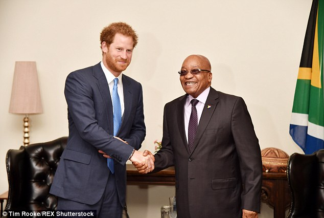Prince Harry, 31, met with South African President Jacob Zuma in Pretoria on the final leg of his official visit to South Africa, the day after using his visit to promote animal conservation charities in Kruger National Park