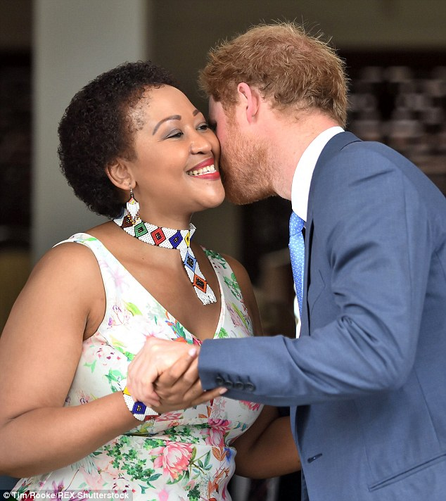 Thobeka Madiba-Zuma, who is one of the president's four wives after marrying him in 2010, was also in attendance and beamed as the royal kissed her on the cheek