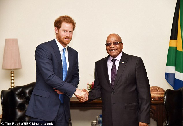 Harry offered his encouragement for initiatives to tackle poaching and told President Zuma about meeting so many of the nation's young people and pledged to help 'work with them to improve their skills'