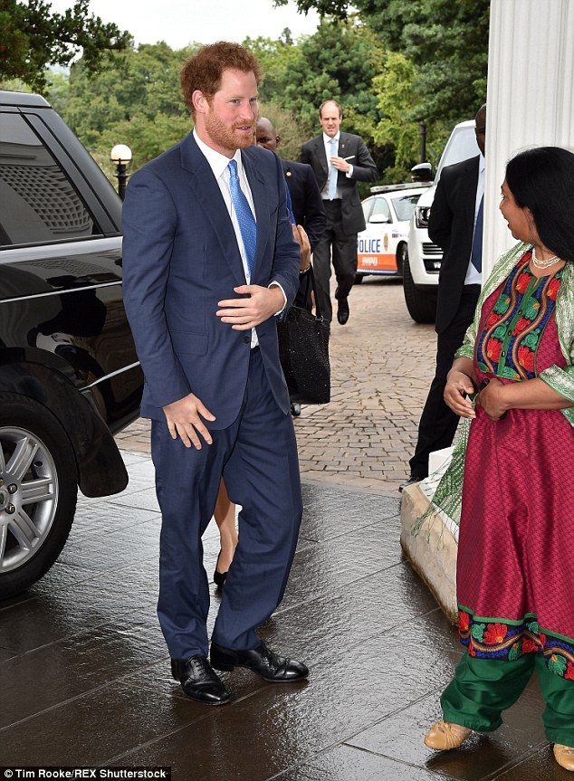 Harry's visit to the presidential residence in Pretoria was only confirmed yesterday. President Zuma has previously refused to meet Michelle Obama, wife of the US president