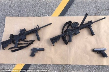 Farook and Malik were armed with a .223-caliber DPMS Model A15 rifle, a Smith and Wesson M&P15 rifle as well as Llama handgun and a Smith and Wesson handgun (pictured)